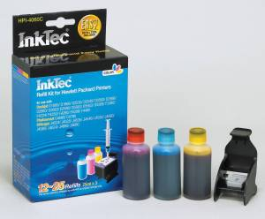 Quality Matching refill kit HPI-4060C for the HP CH564EE / CH562EE Colour Cartridges