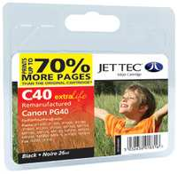 Jettec Reman CANON PG40 Black Print Cartridge